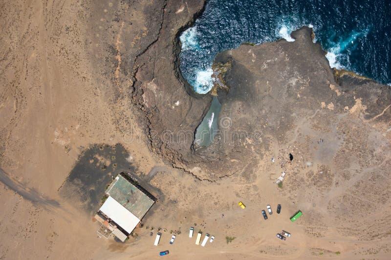 Vue aérienne de Buracona en île de sel Cap Vert - Cabo Verde photos libres de droits