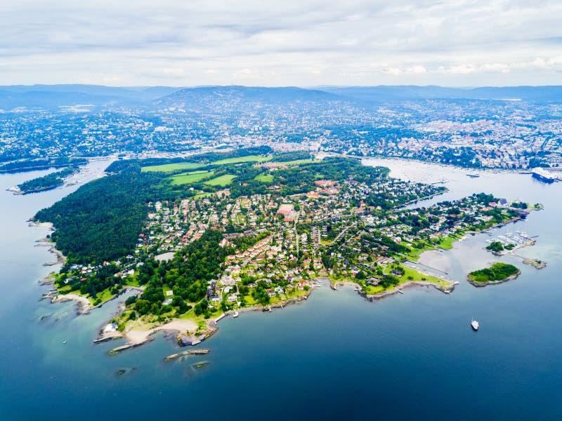 Vue aérienne de Bygdoy, Oslo photographie stock