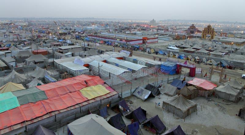 Vue aérienne de camp de festival de Maha Kumbh Mela image libre de droits