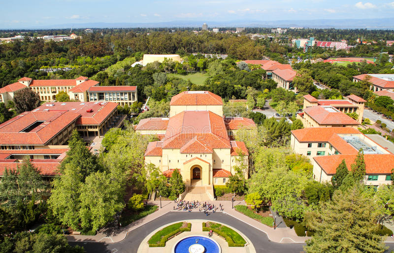 Vue aérienne de campus de Stanford Universtity image libre de droits