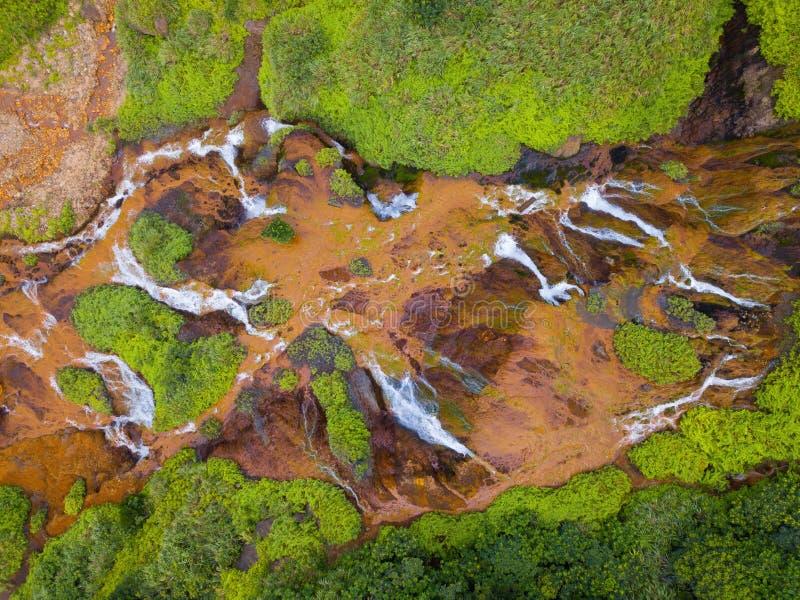 Vue aérienne de cascade d'or Paysage de nature de Jinguashi dans la région de Ruifang il est situé dans la nouvelle ville de Taïp image libre de droits