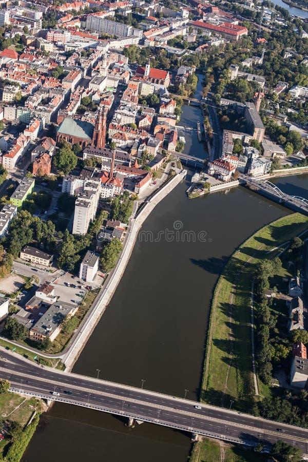 Vue aérienne de centre de la ville d'Opole images libres de droits