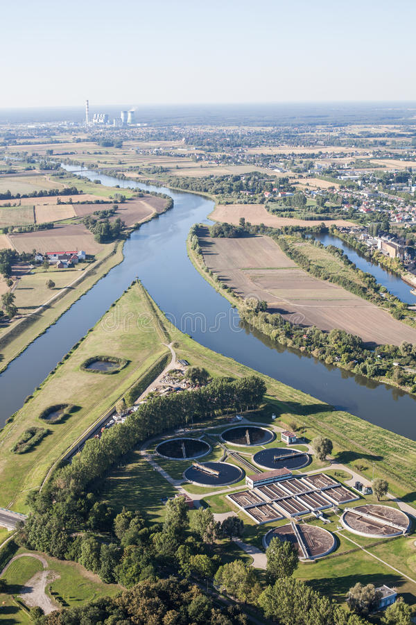 Vue aérienne de centre de la ville d'Opole photos stock