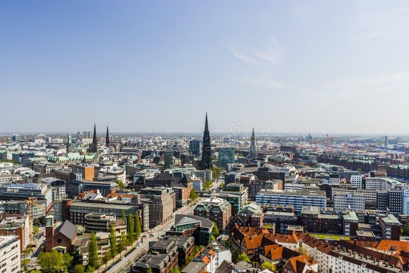 Vue aérienne de centre de la ville de Hambourg, Allemagne photo stock