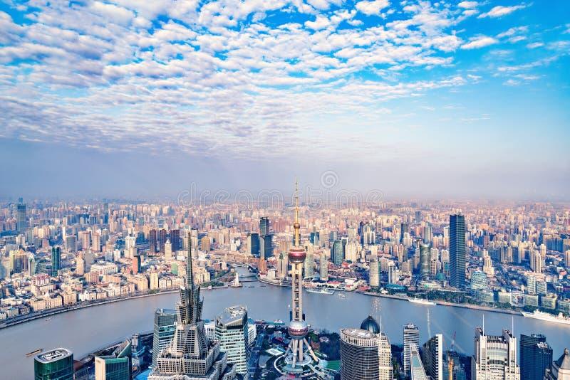 Vue aérienne de centre de la ville de Changhaï image libre de droits