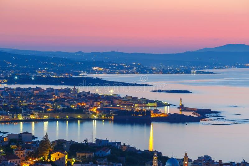 Vue aérienne de Chania, Crète images libres de droits
