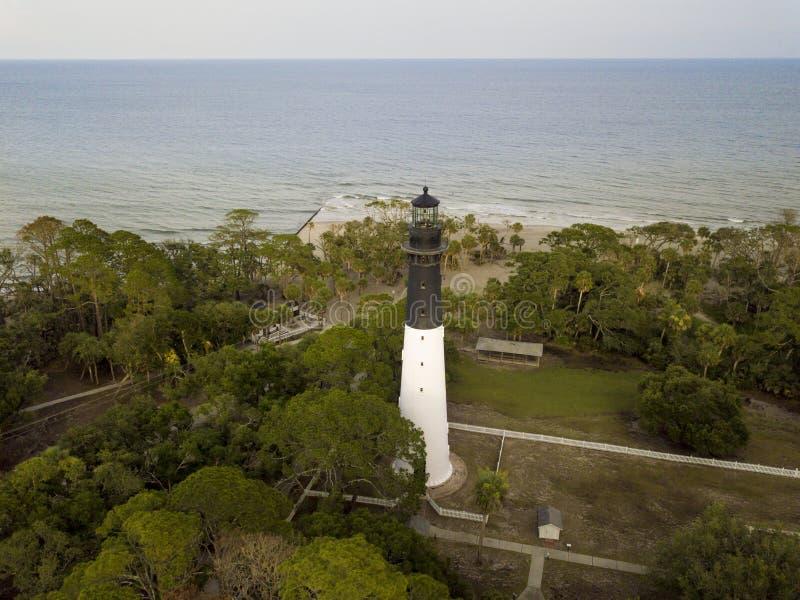 Vue aérienne de chasser le phare et l'Océan Atlantique d'île dans S photographie stock