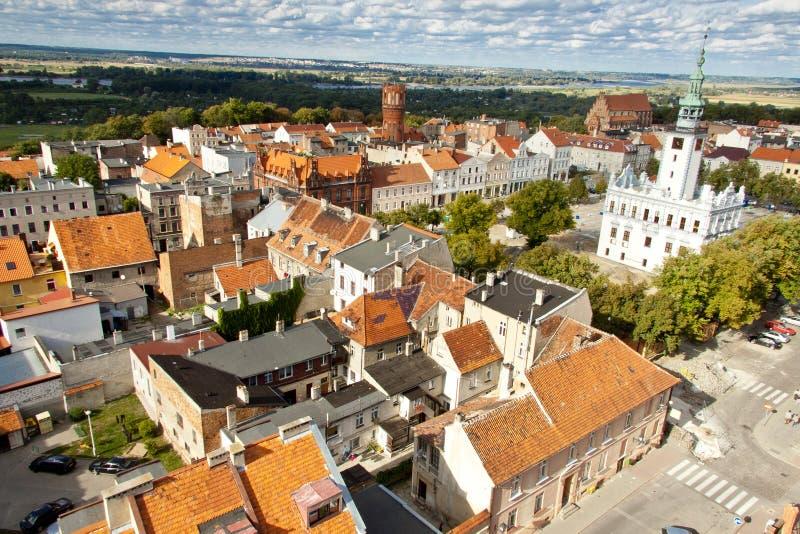 Vue aérienne de Chelmno. image stock