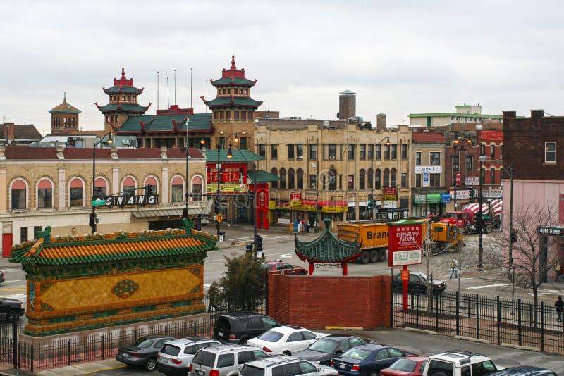 Vue aérienne de Chicago Chinatown photo stock