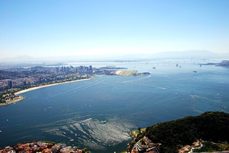 Vue aérienne de compartiment de Guanabara image stock