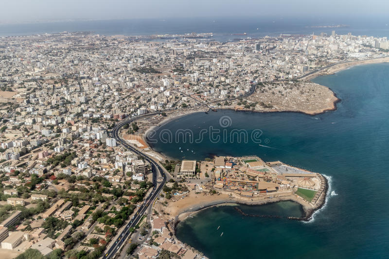 Vue aérienne de Dakar images libres de droits
