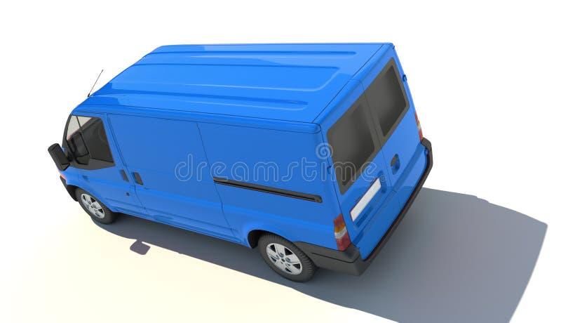 Vue aérienne de fourgon bleu illustration de vecteur