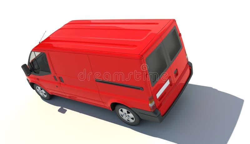 Vue aérienne de fourgon rouge illustration de vecteur