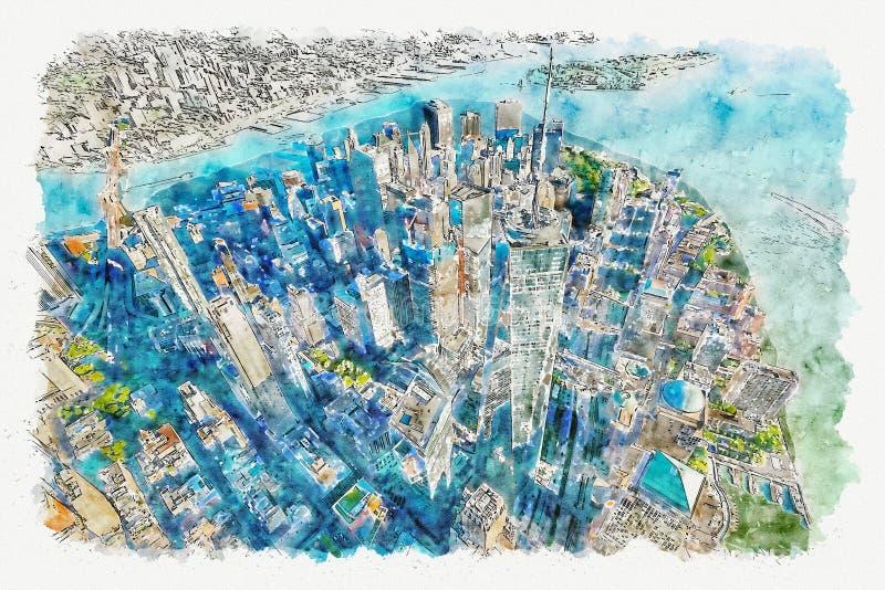 Vue aérienne de Freedom Tower chez One World Trade Center, heure-homme illustration de vecteur