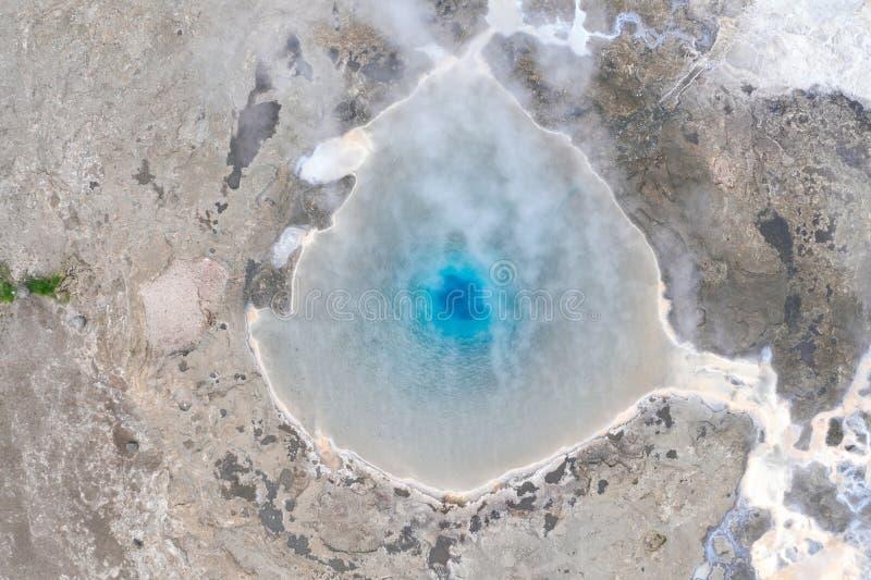 Vue aérienne de geyser de Geysir images libres de droits