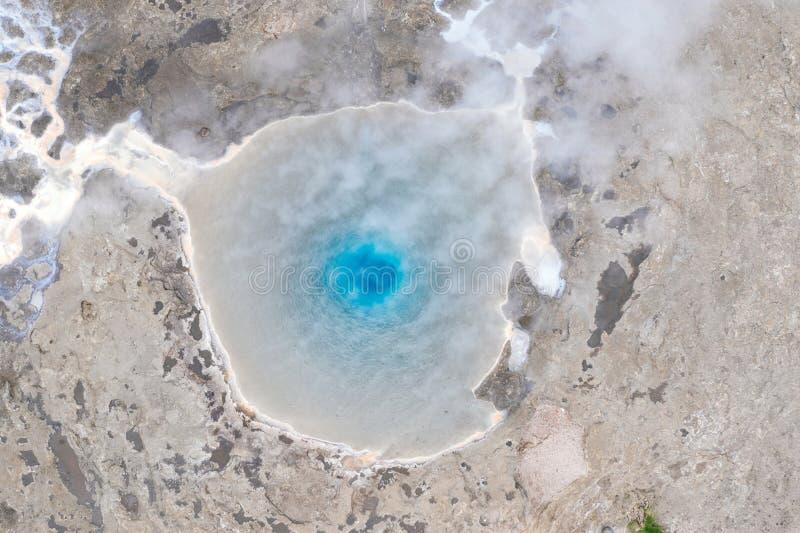 Vue aérienne de geyser de Geysir image stock