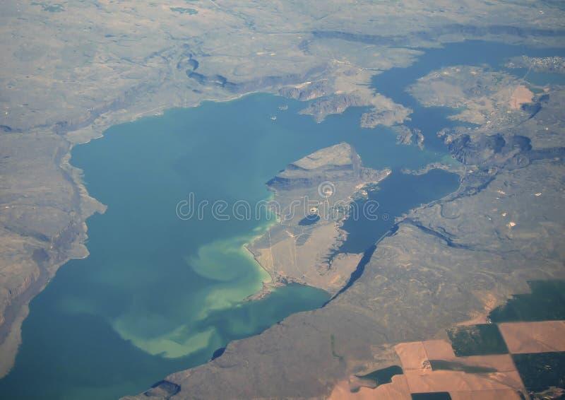 Vue aérienne de grand lac photo stock