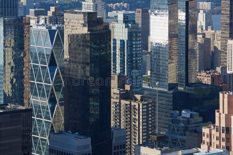 Vue aérienne de gratte-ciel de New York City Manhattan, bâtiments en verre photographie stock