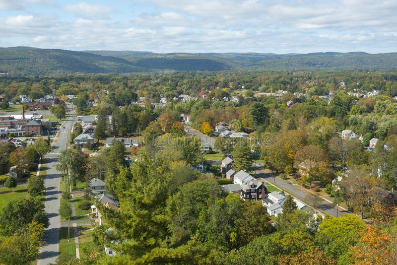 Vue aérienne de Greenfield, le Massachusetts, Etats-Unis photographie stock libre de droits