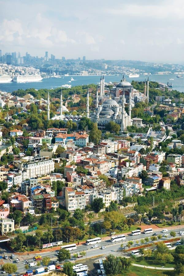 Vue aérienne de Hagia Sofia et mosquée bleue images stock