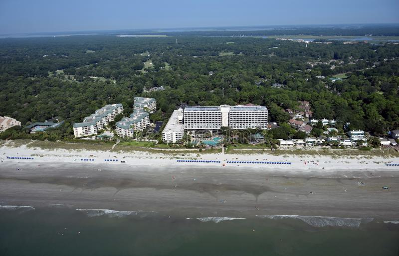 Vue aérienne de Hilton Head Beach Ocean Front photos stock