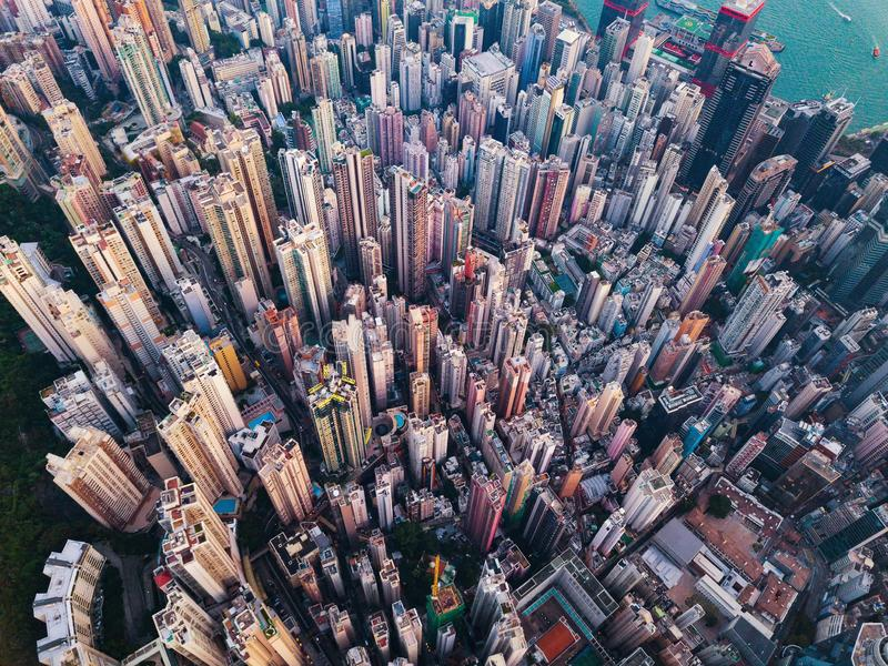 vue aérienne de Hong Kong du centre Secteur et busine financiers images libres de droits