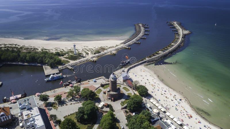 Vue aérienne de Kol'obrzeg une belle ville et spa photo libre de droits