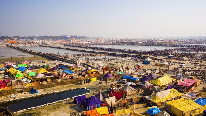 Vue aérienne de Kumbh Mela Festival dans Allahabad, Inde photo stock