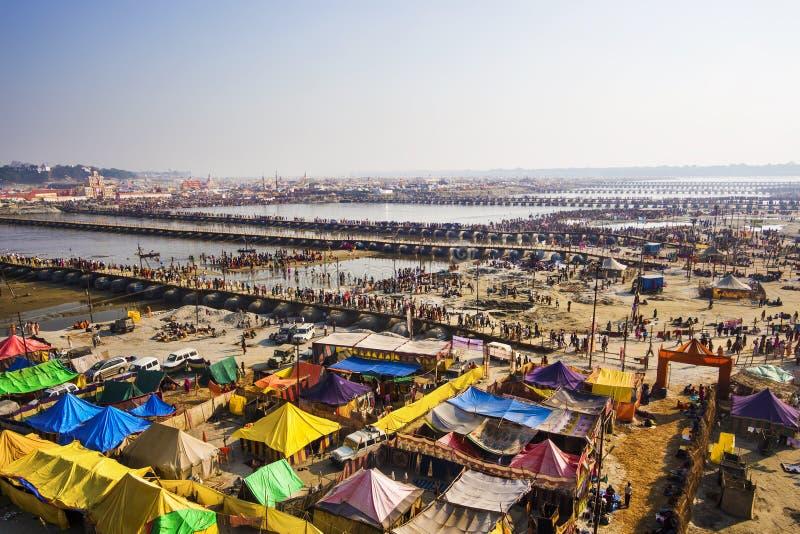 Vue aérienne de Kumbh Mela Festival dans Allahabad, Inde image stock