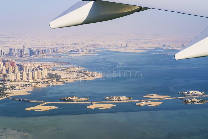 Vue aérienne de l'île du Perle-Qatar dans Doha Le Qatar, le golfe Persique Golfe Persique images stock