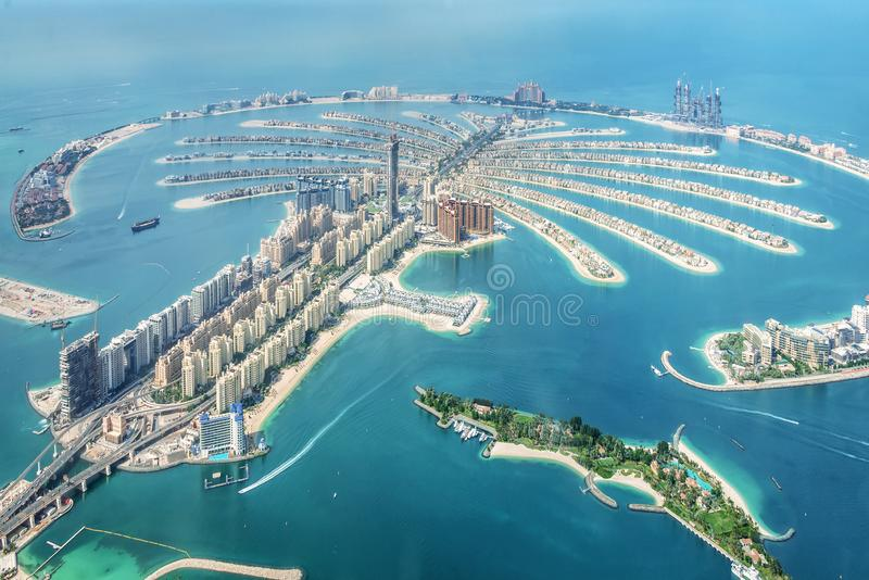 Vue aérienne de l'île de Jumeirah de paume de Dubaï, EAU photographie stock