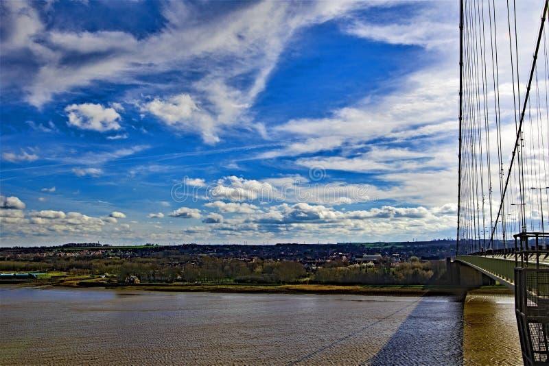 Vue aérienne de l'estuaire de Humberside, de la voie Eastside du pont de Humber, coque, Humberside, Yorkshire images libres de droits