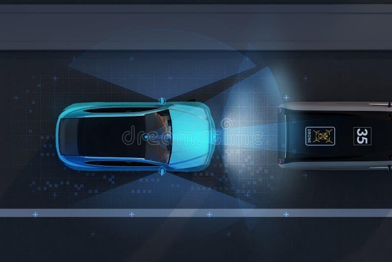 Vue aérienne de l'urgence bleue de SUV freinant pour éviter l'accident de voiture image libre de droits
