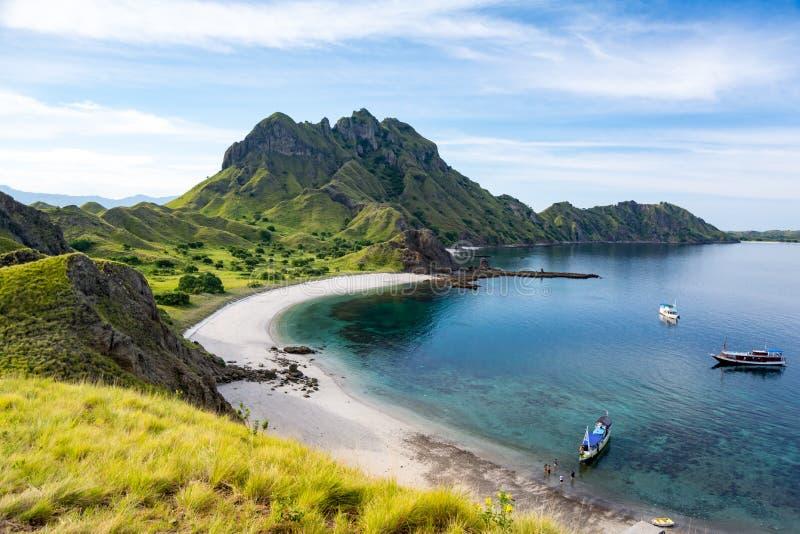 Vue aérienne de la baie d'île de Padar photo stock