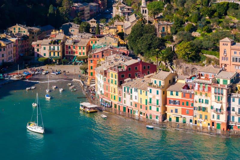 Vue aérienne de la baie de Portofino photo libre de droits