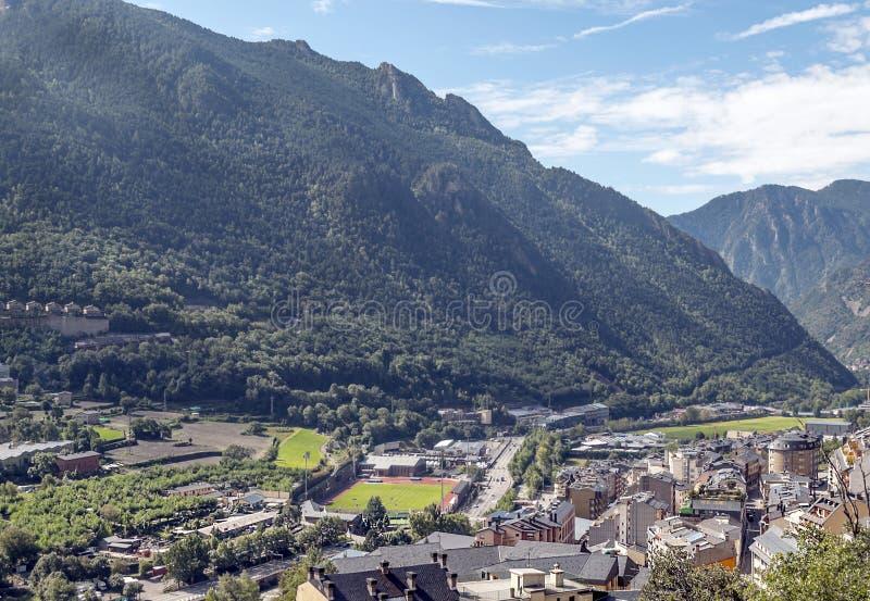 Vue aérienne de La Bella de l'Andorre photo stock
