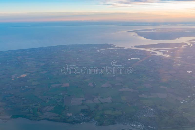 Vue aérienne de la belle région de Colchester photo libre de droits