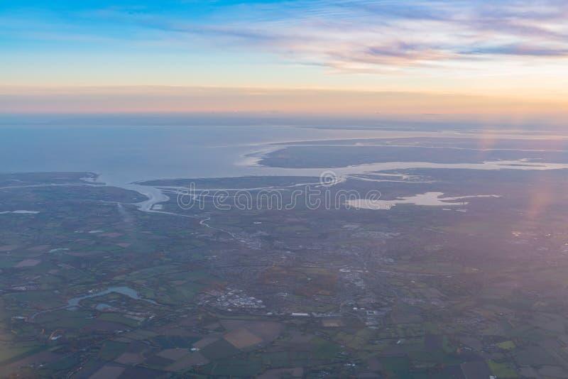 Vue aérienne de la belle région de Colchester photo stock