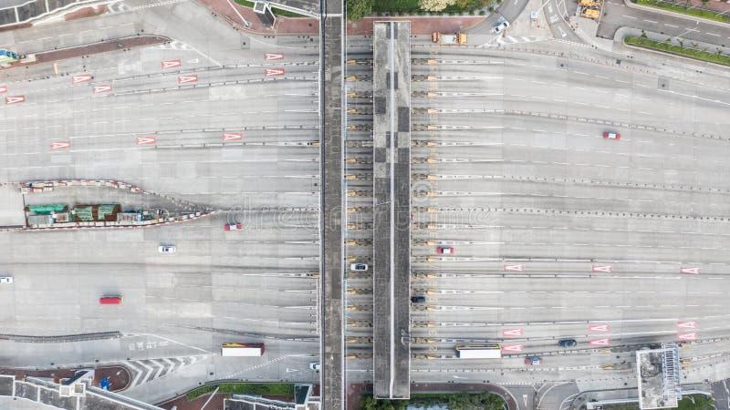 Vue aérienne de la cabine de péage du tunnel occidental de port chez Hong Kong photo libre de droits