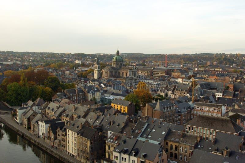 Vue aérienne, de la citadelle, de la ville de Namur, la Belgique, l'Europe photographie stock libre de droits