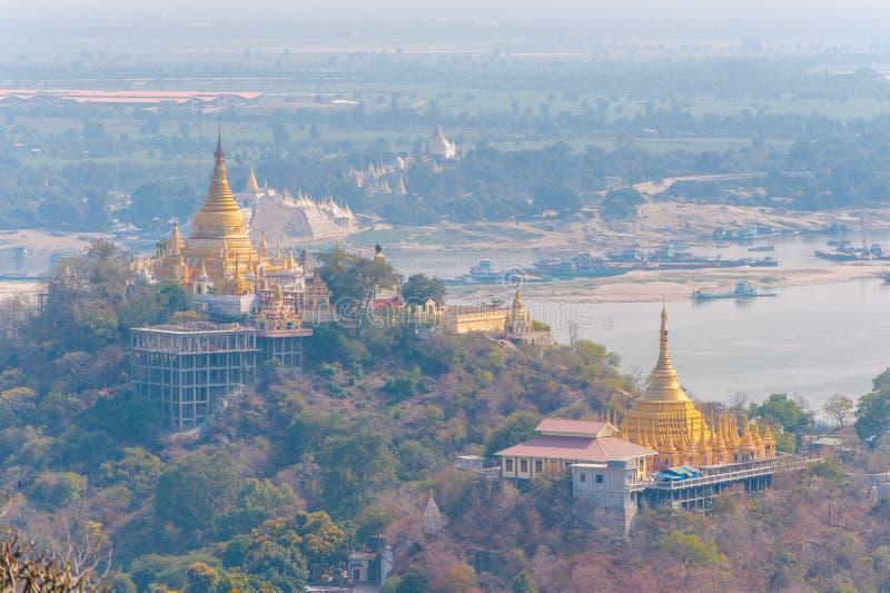Vue aérienne de la colline sagaing photo stock