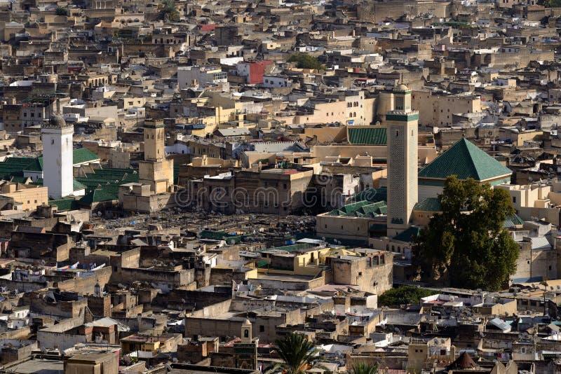 Vue aérienne de la Médina dans Fes, Maroc photographie stock libre de droits