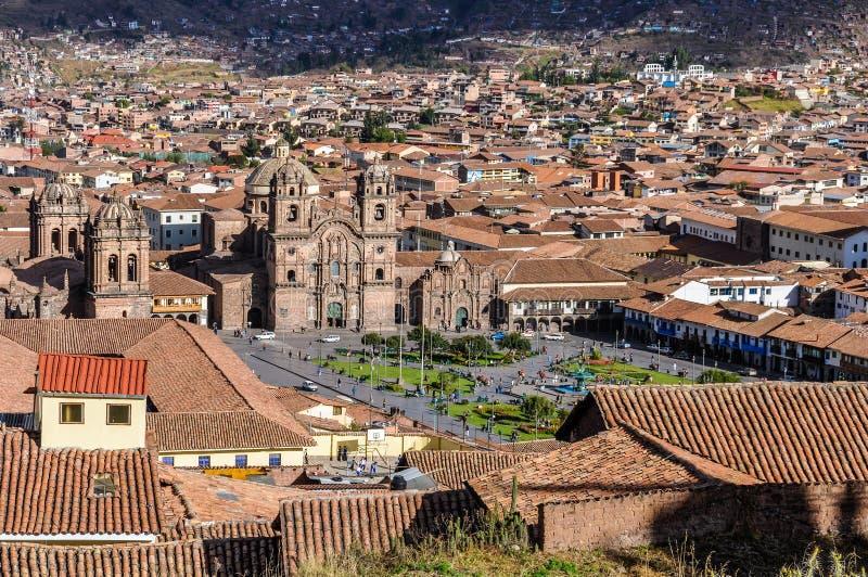 Vue aérienne de la place principale dans Cusco, Pérou photo stock