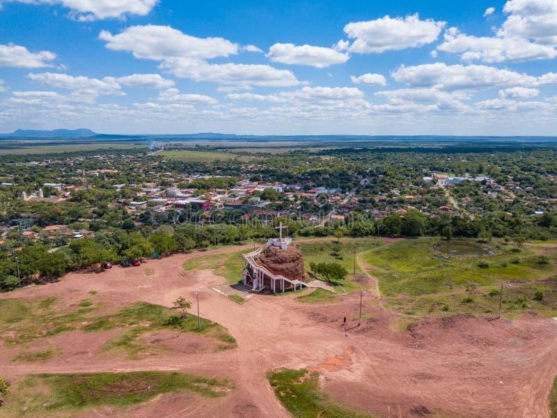 Vue aérienne de la plate-forme d'observation à Cerro Pero au Paraguay image libre de droits