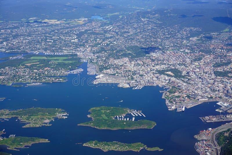 Vue aérienne de la région d'Oslo en Norvège photographie stock