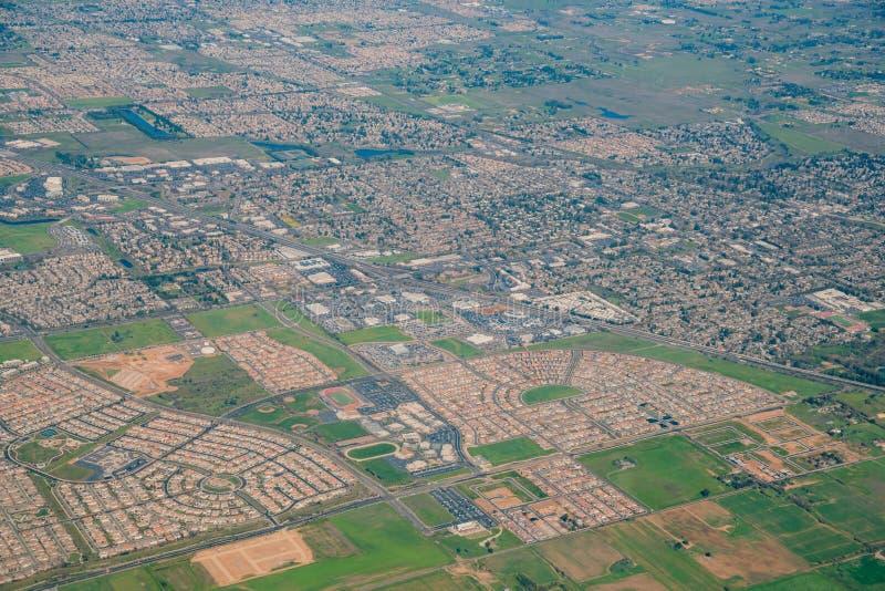 Vue aérienne de la région de verger d'élans images stock