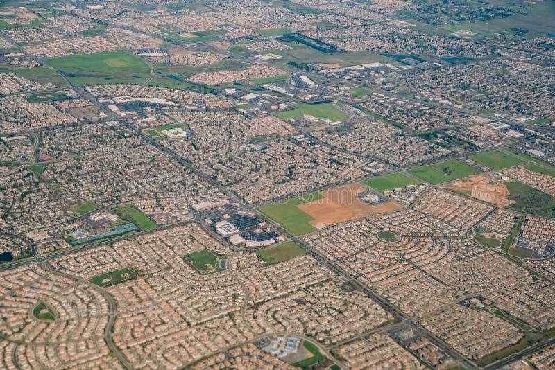 Vue aérienne de la région de verger d'élans photographie stock