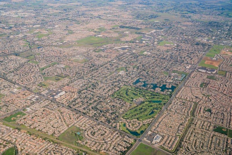 Vue aérienne de la région de verger d'élans photo stock