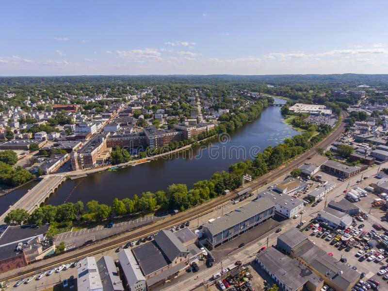Vue aérienne de la rivière Charles, Waltham, Massachusetts, États-Unis photos stock