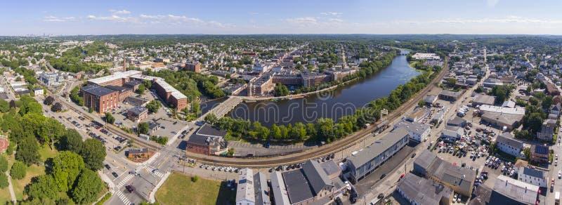 Vue aérienne de la rivière Charles, Waltham, Massachusetts, États-Unis image libre de droits